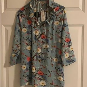 Carribean Blue Floral blouse